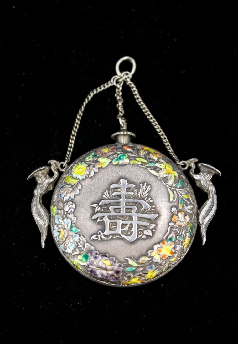 CHINESE QING DYNASTY SILVER ENAMEL SNUFF BOTTLE