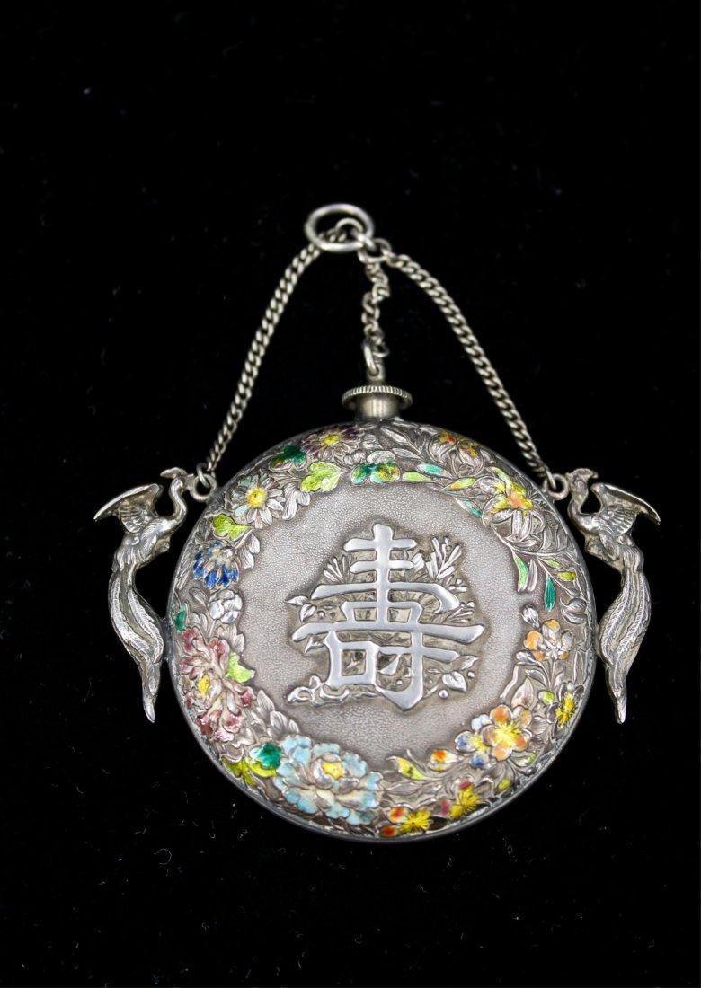 CHINESE QING DYNASTY SILVER ENAMEL SNUFF BOTTLE - 2