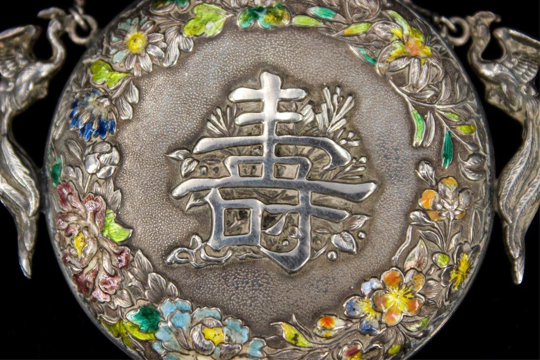 CHINESE QING DYNASTY SILVER ENAMEL SNUFF BOTTLE - 5