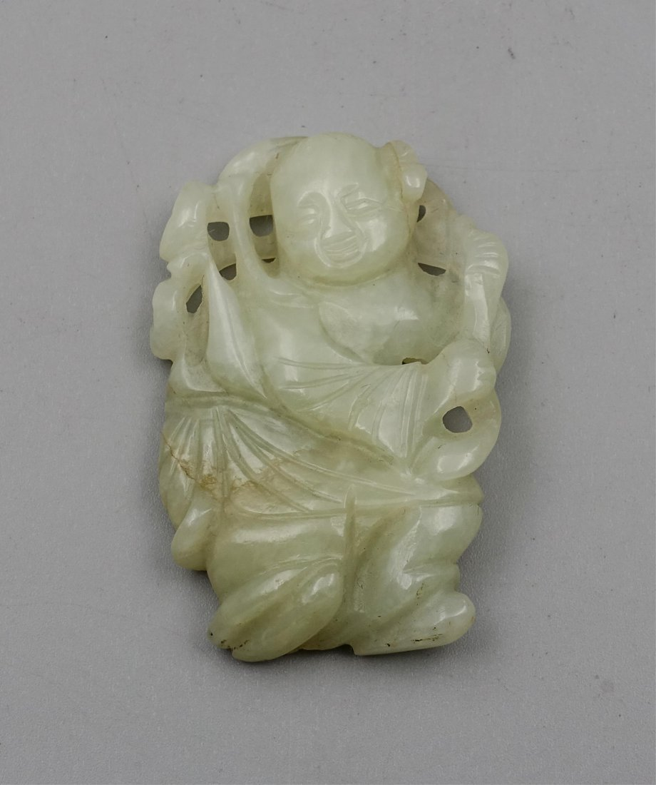CHINESE QING DYNASTY HETIAN JADE CARVED BOY