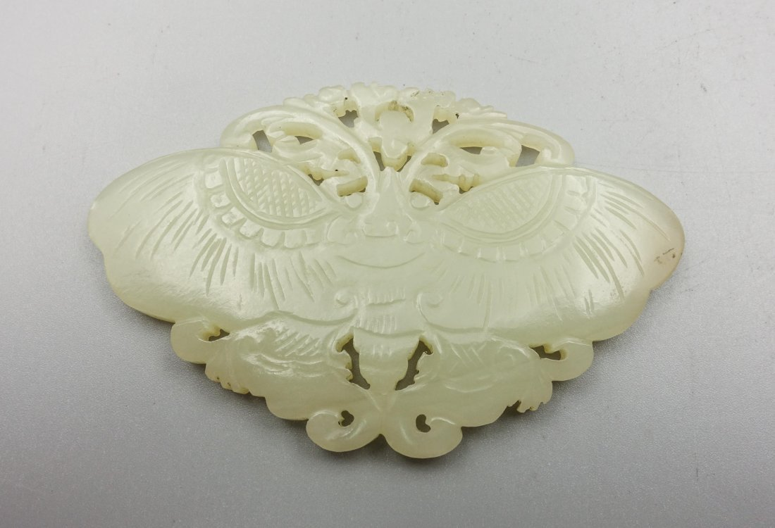 CHINESE QING DYNASTY HETIAN JADE BUTTERFLY PENDANT - 2