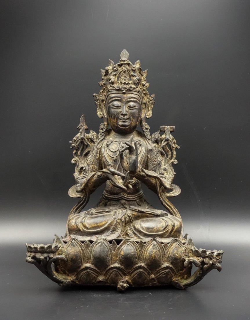 CHINESE MING DYNASTY GILT BRONZE MANJUSRI BUDDHA