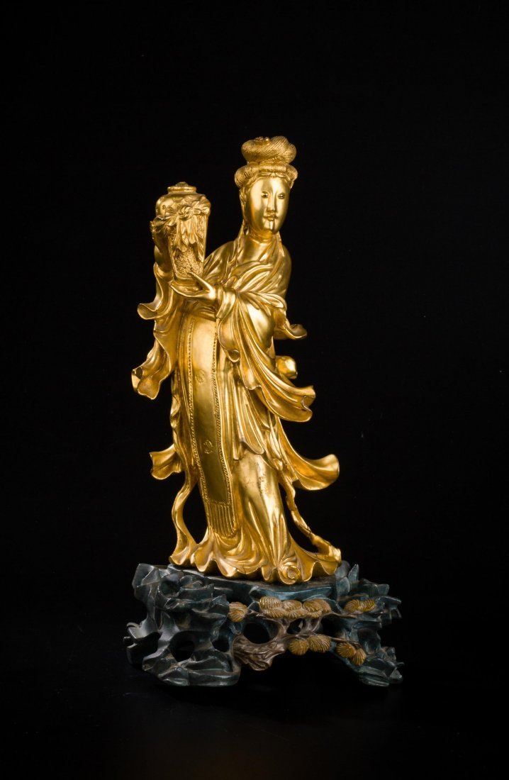 CHINESE QING DYNASTY GILT WOOD FIGURE OF GUANYIN - 2