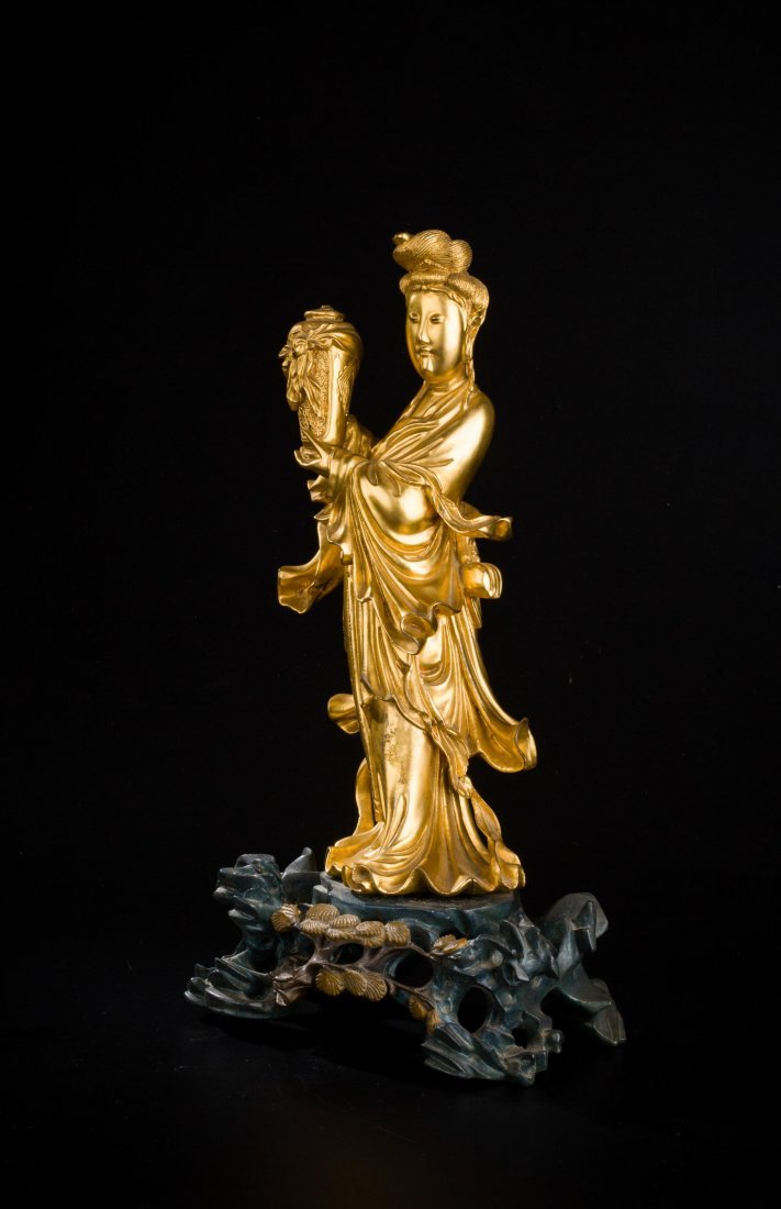 CHINESE QING DYNASTY GILT WOOD FIGURE OF GUANYIN - 3