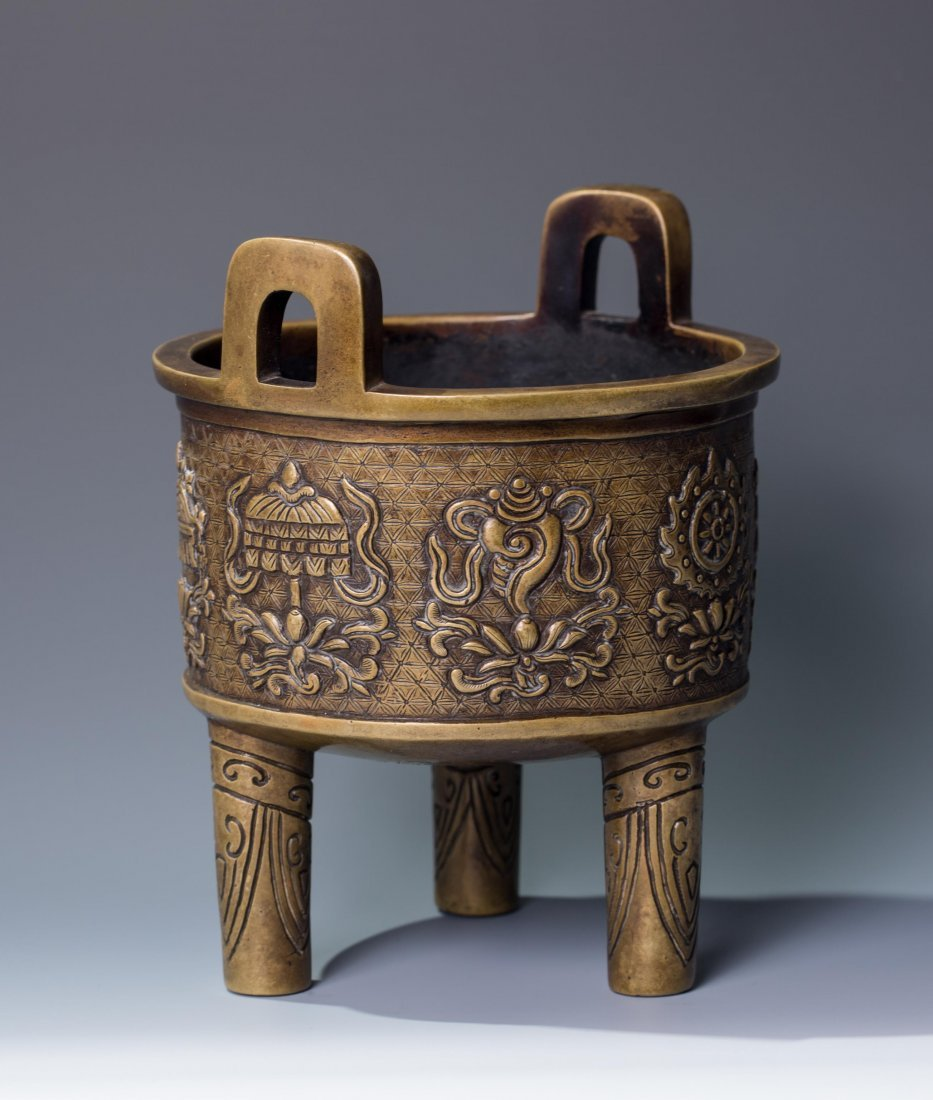 CHINESE QING DYNASTY BRONZE TRIPOD CENSER, MARKED - 2