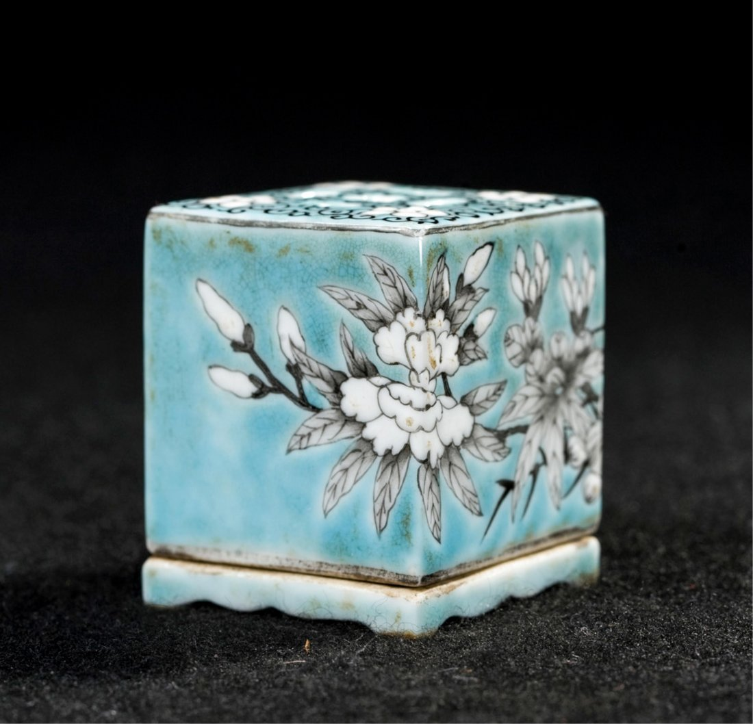 CHINESE QING DYNASTY FAMILLE ROSE SQUARE CENSER - 3