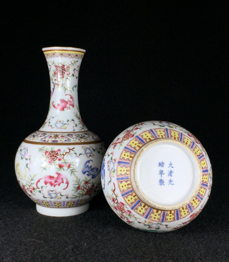 PAIR OF CHINESE QING DYNASTY FAMILLE ROSE VASE - 3