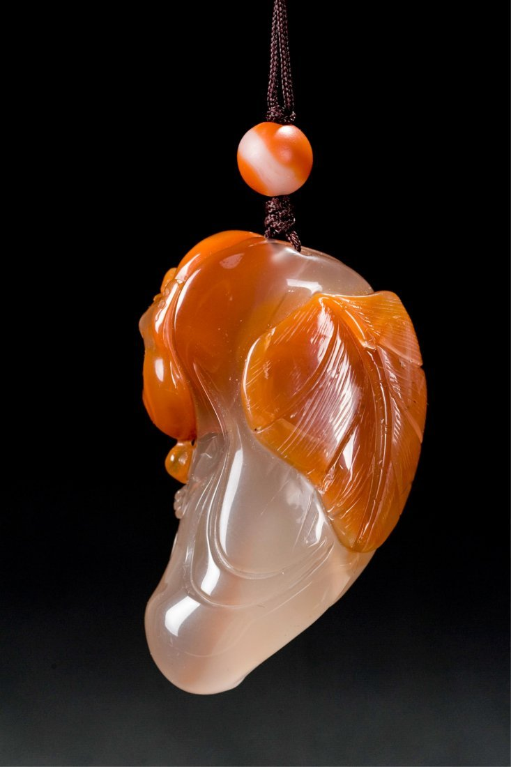CHINESE AGATE CARVED LOHAN PENDANT - 3