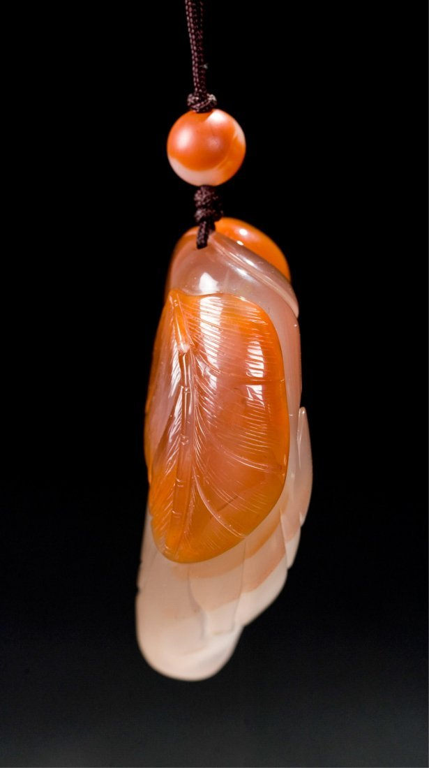 CHINESE AGATE CARVED LOHAN PENDANT - 4