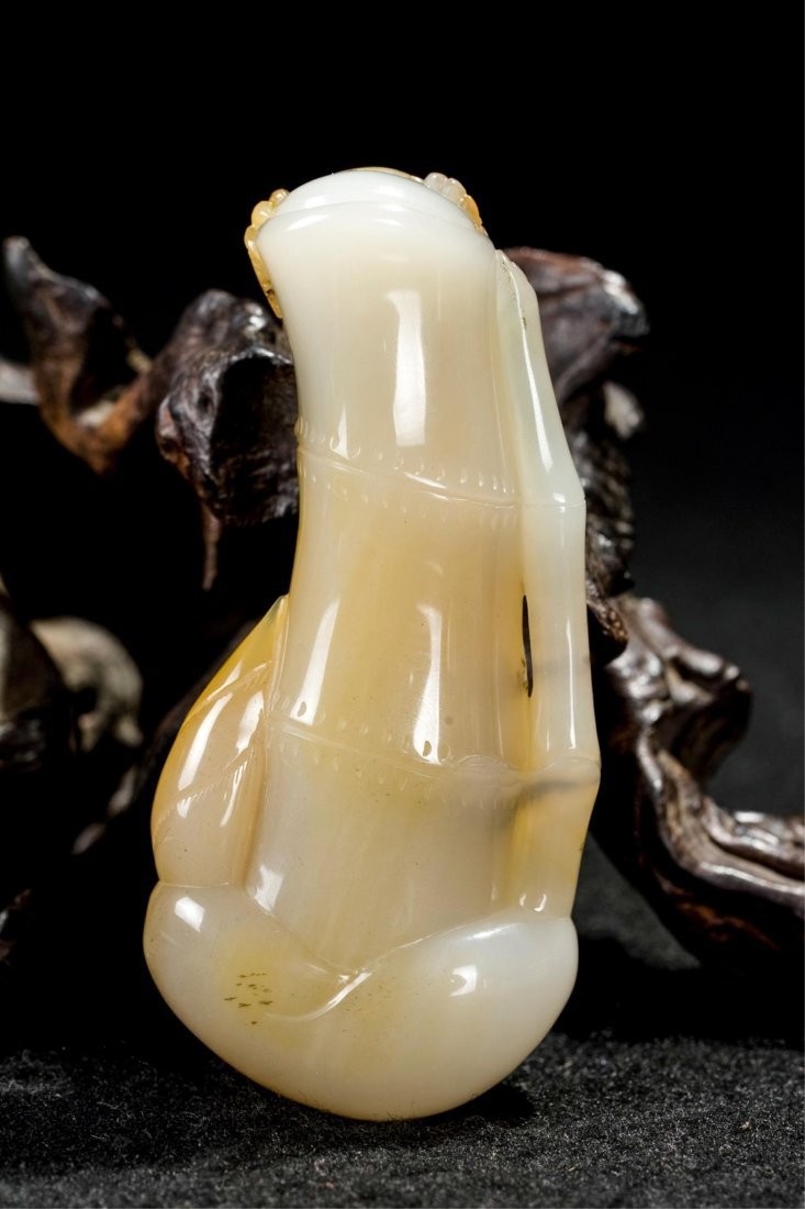 CHINESE AGATE CARVED DRAGON ON BAMBOO - 4