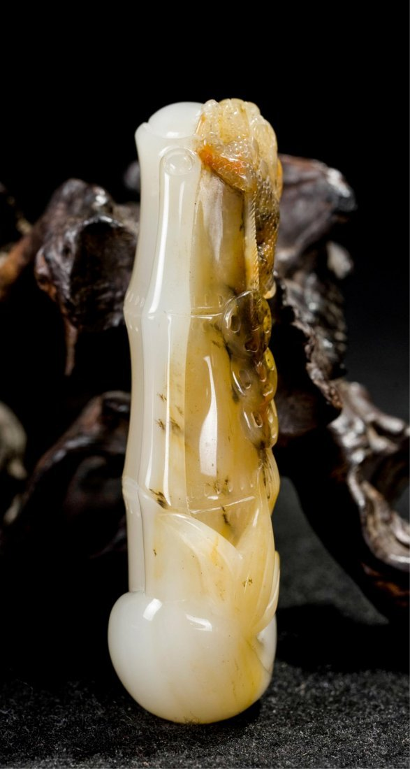 CHINESE AGATE CARVED DRAGON ON BAMBOO - 5