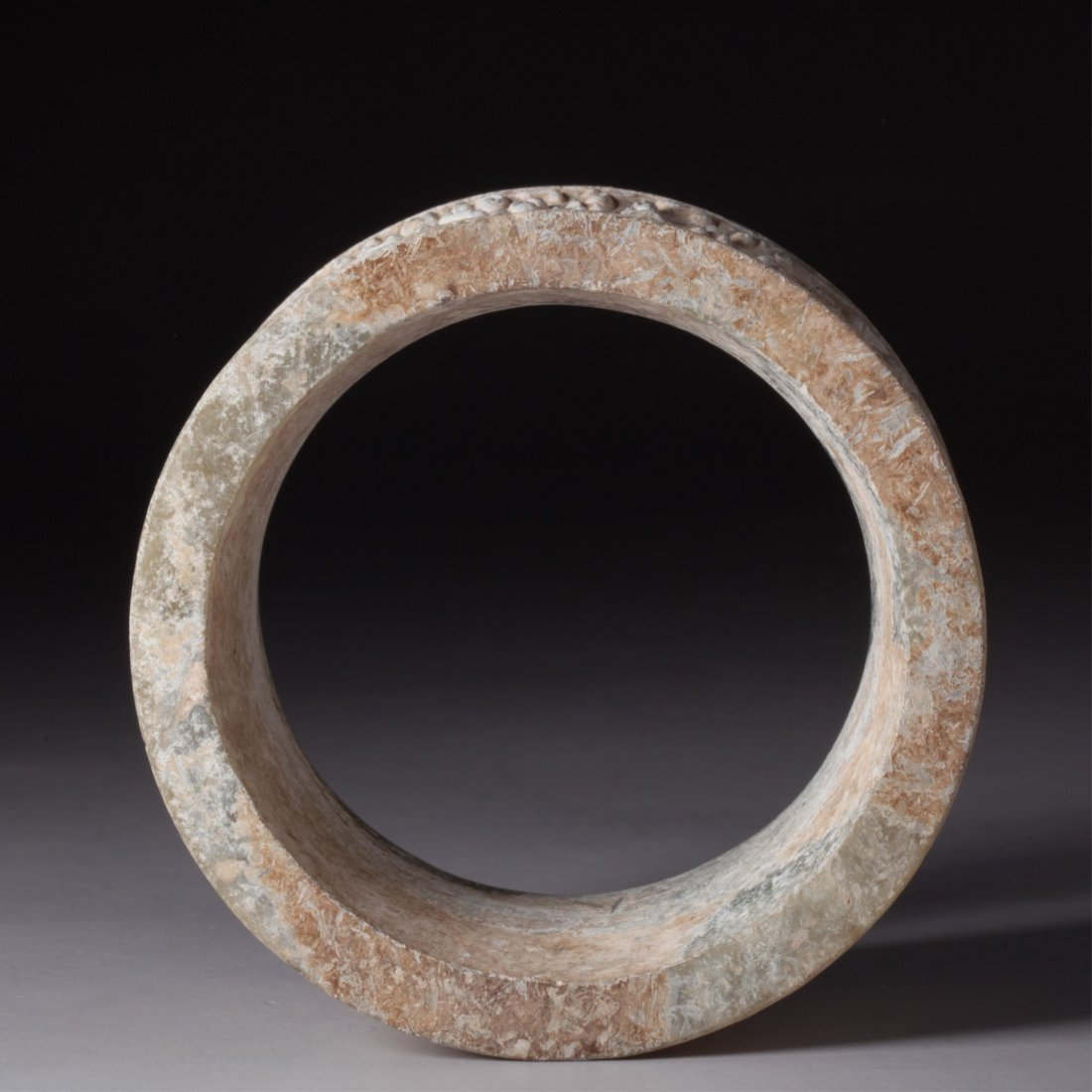 CHINESE ARCHAIC STYLE JADE RING - 5