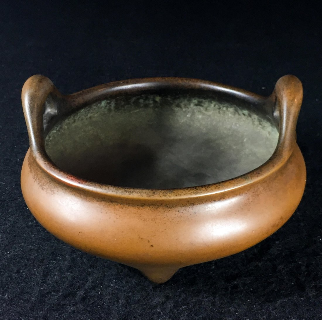 CHINESE QING DYNASTY TRIPOD BRONZE CENSER WITH MAR - 3