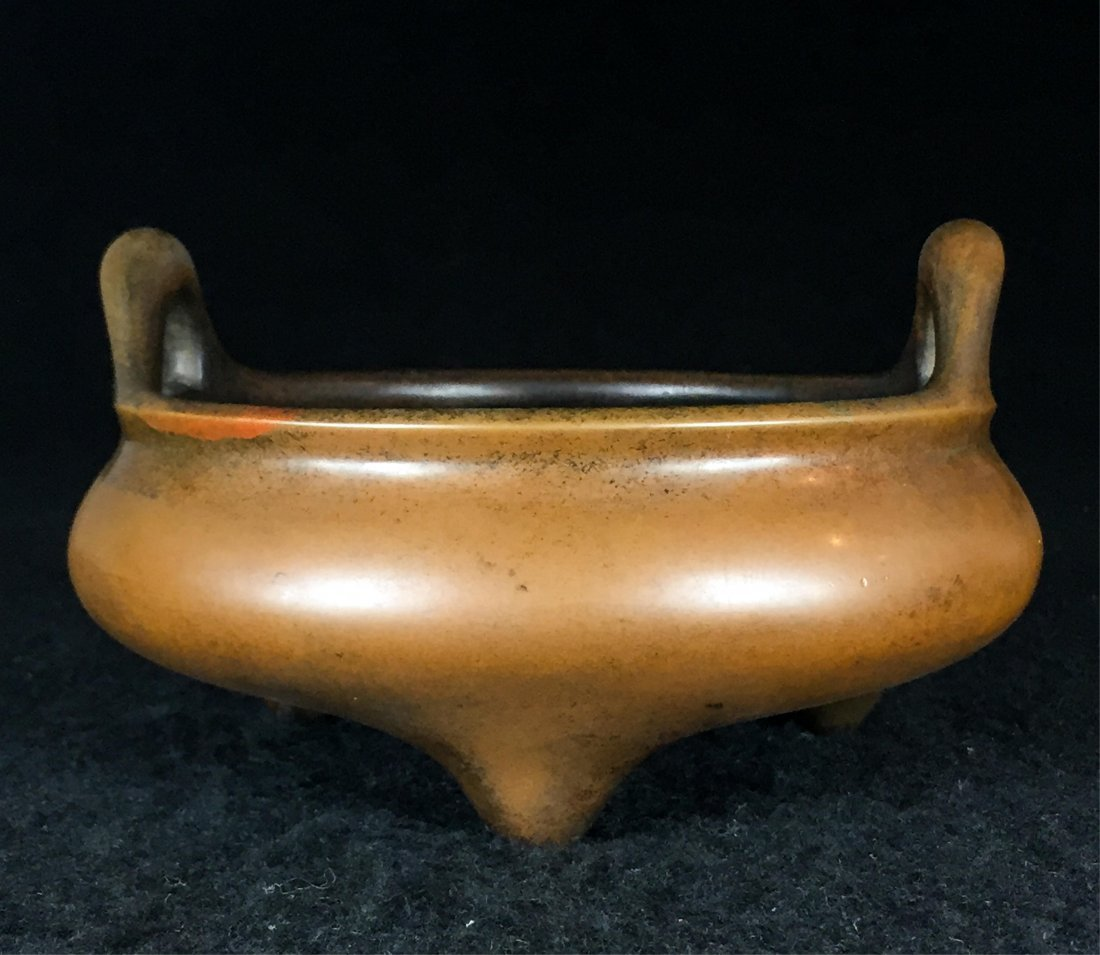 CHINESE QING DYNASTY TRIPOD BRONZE CENSER WITH MAR - 4