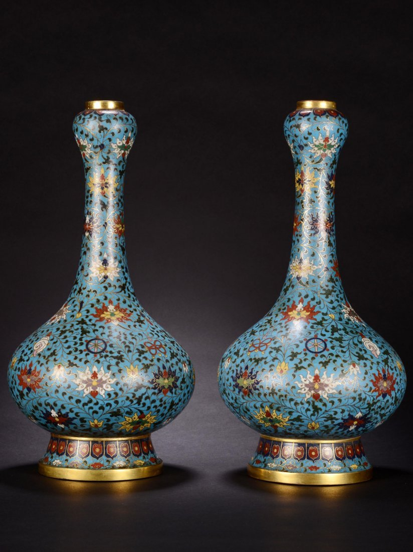 PAIR OF CHINESE QING DYNASTY CLOISONNE GARLIC VASE - 2