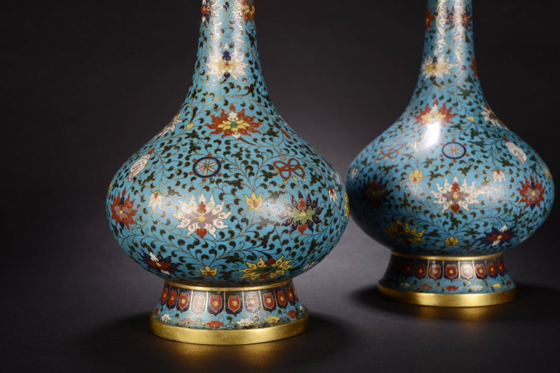 PAIR OF CHINESE QING DYNASTY CLOISONNE GARLIC VASE - 3