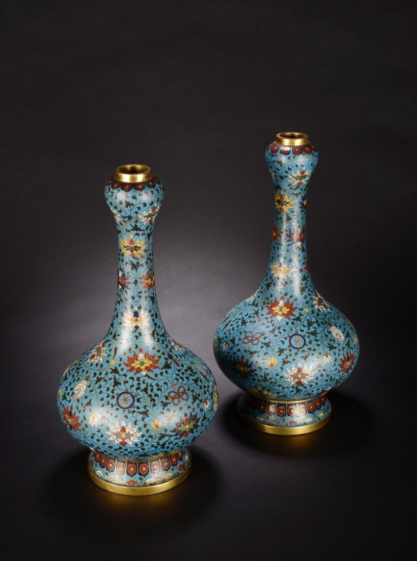 PAIR OF CHINESE QING DYNASTY CLOISONNE GARLIC VASE - 4
