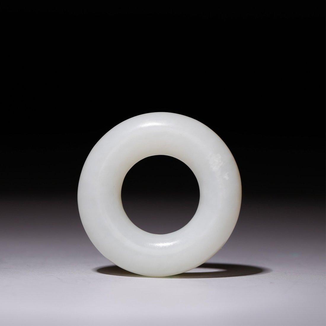 CHINESE WHITE JADE RING - 3