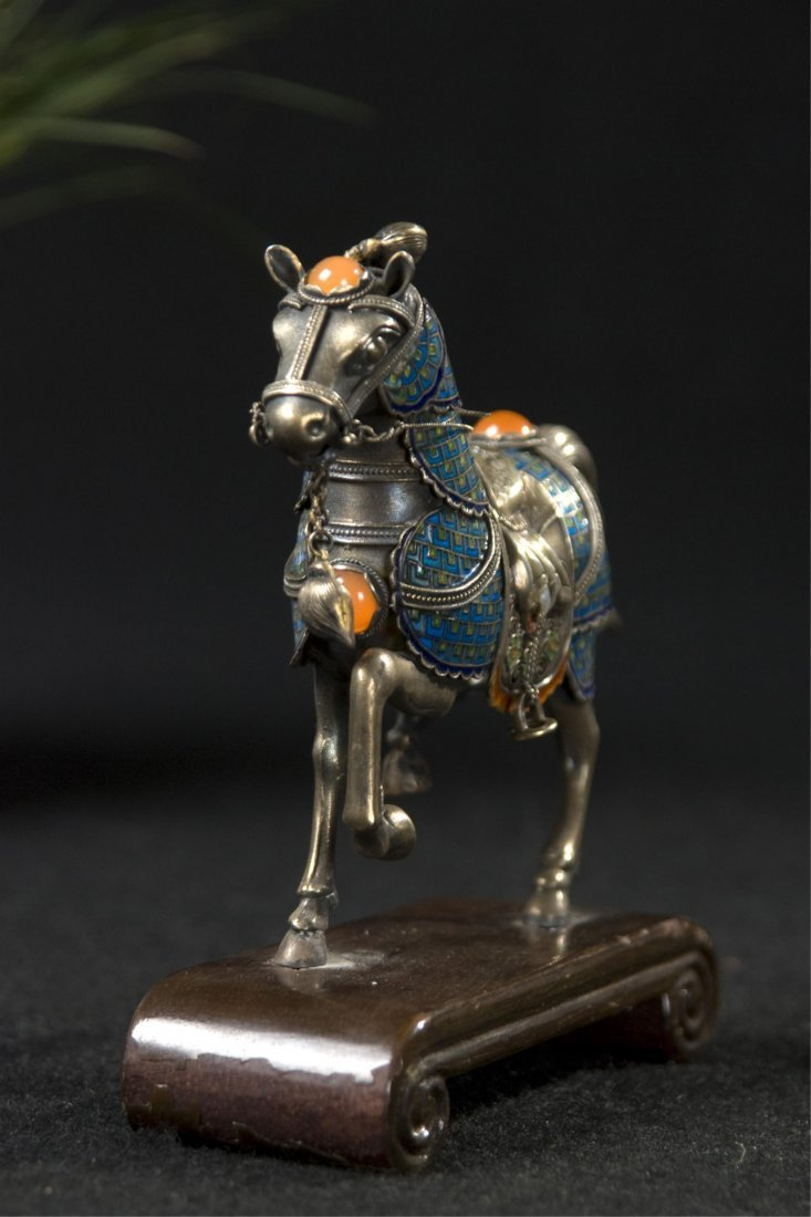 Chinese Silver Enamel Horse With Inlaid
