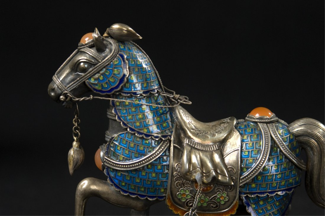 Chinese Silver Enamel Horse With Inlaid - 2