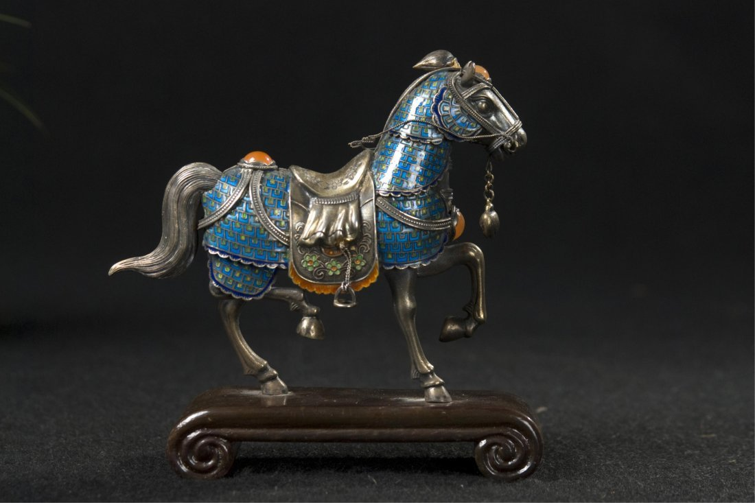 Chinese Silver Enamel Horse With Inlaid - 3