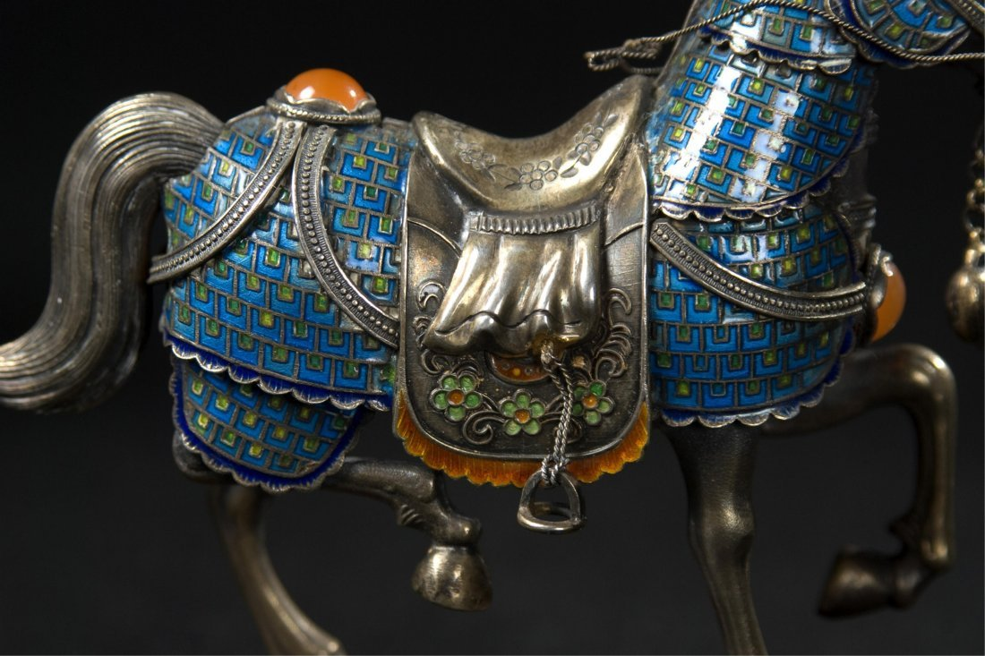 Chinese Silver Enamel Horse With Inlaid - 4