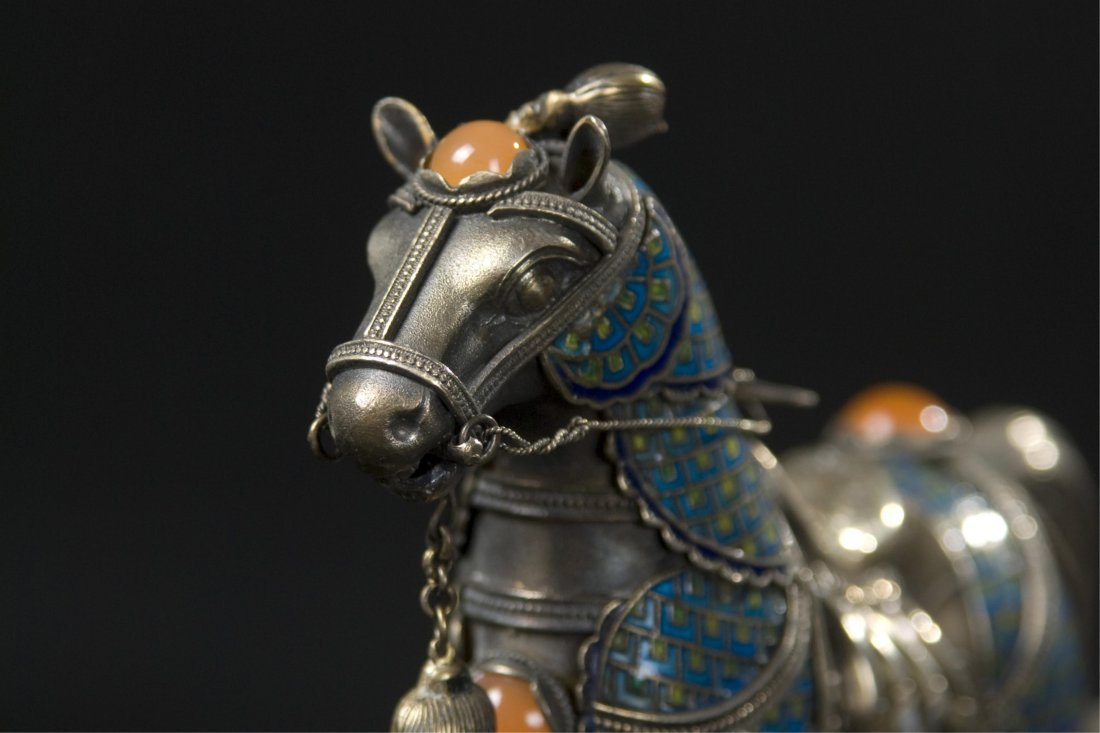 Chinese Silver Enamel Horse With Inlaid - 6