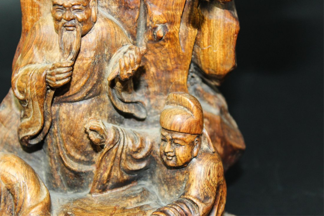 CHINESE HUALI WOOD CARVED SCHOLARS - 2