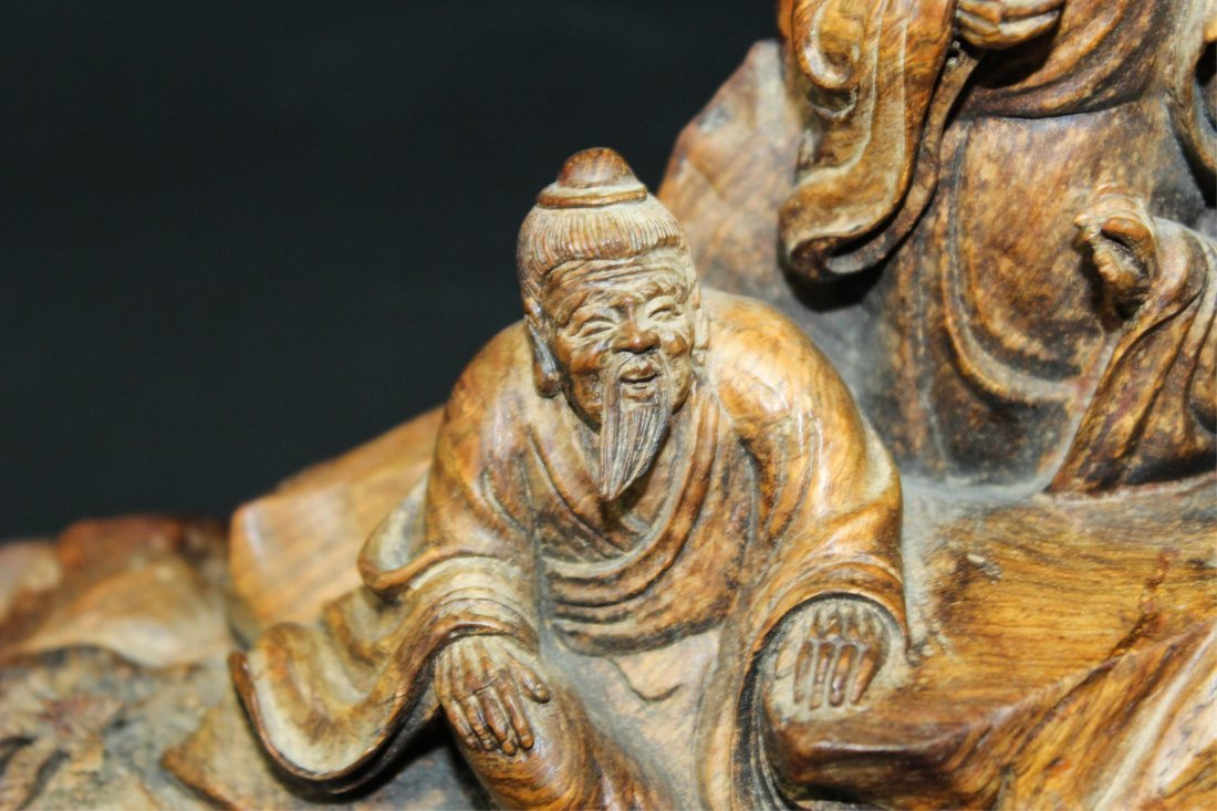 CHINESE HUALI WOOD CARVED SCHOLARS - 3