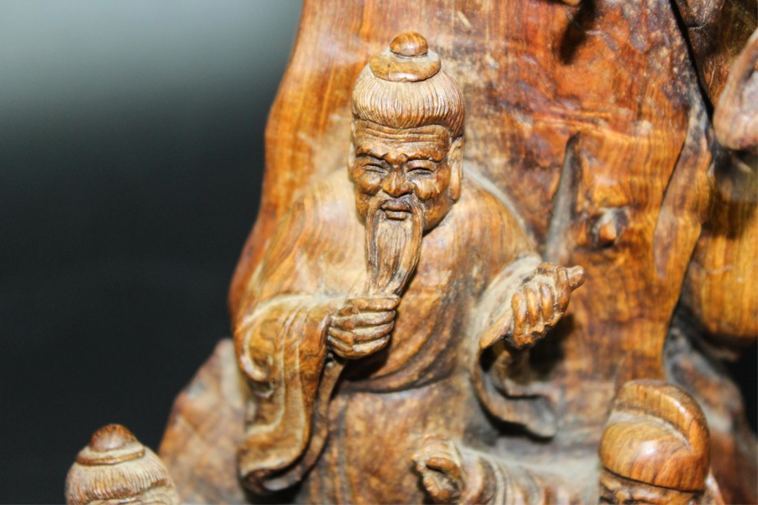 CHINESE HUALI WOOD CARVED SCHOLARS - 5
