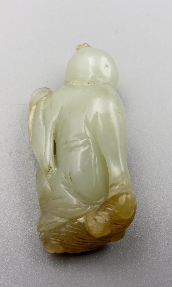 CHINESE QING DYNASTY HETIAN JADE CARVED BOY - 2