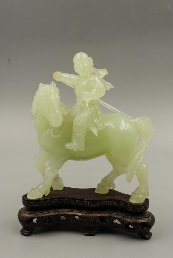 Chinese Jade Carved Figure On Horse