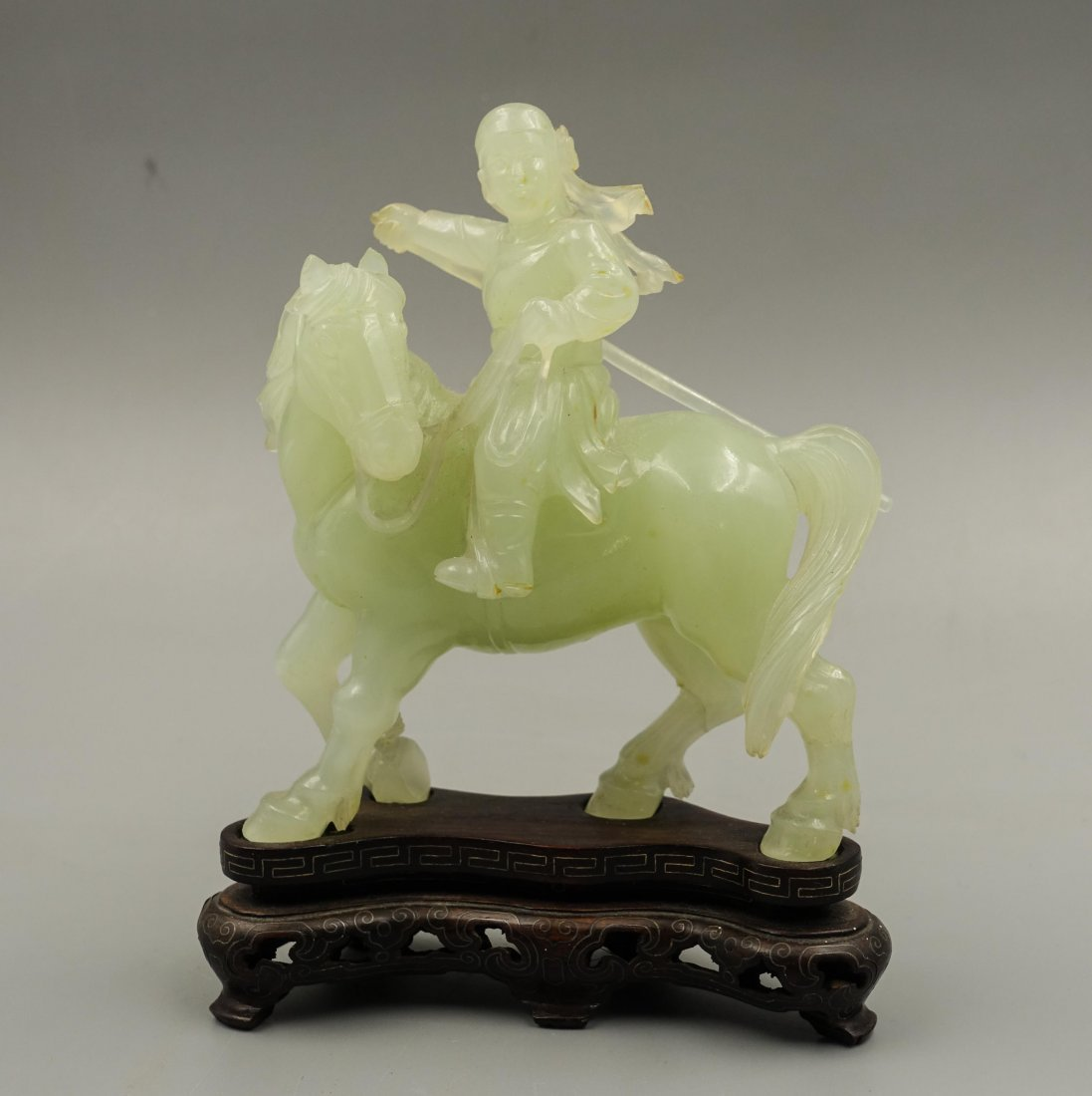 Chinese Jade Carved Figure On Horse - 3