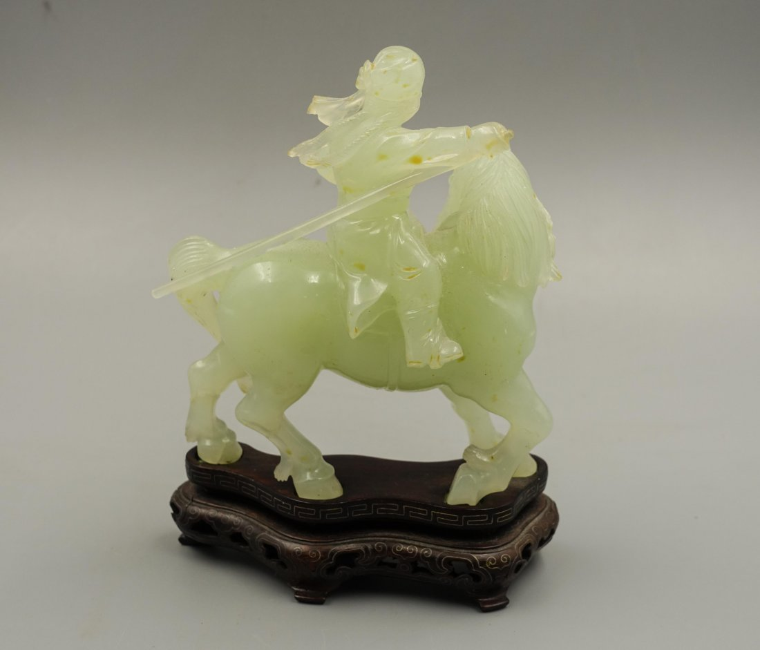 Chinese Jade Carved Figure On Horse - 5