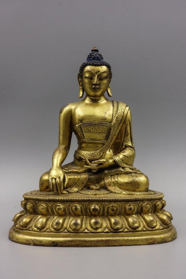 Chinese Gilt Bronze Figure Of Shakyamuni