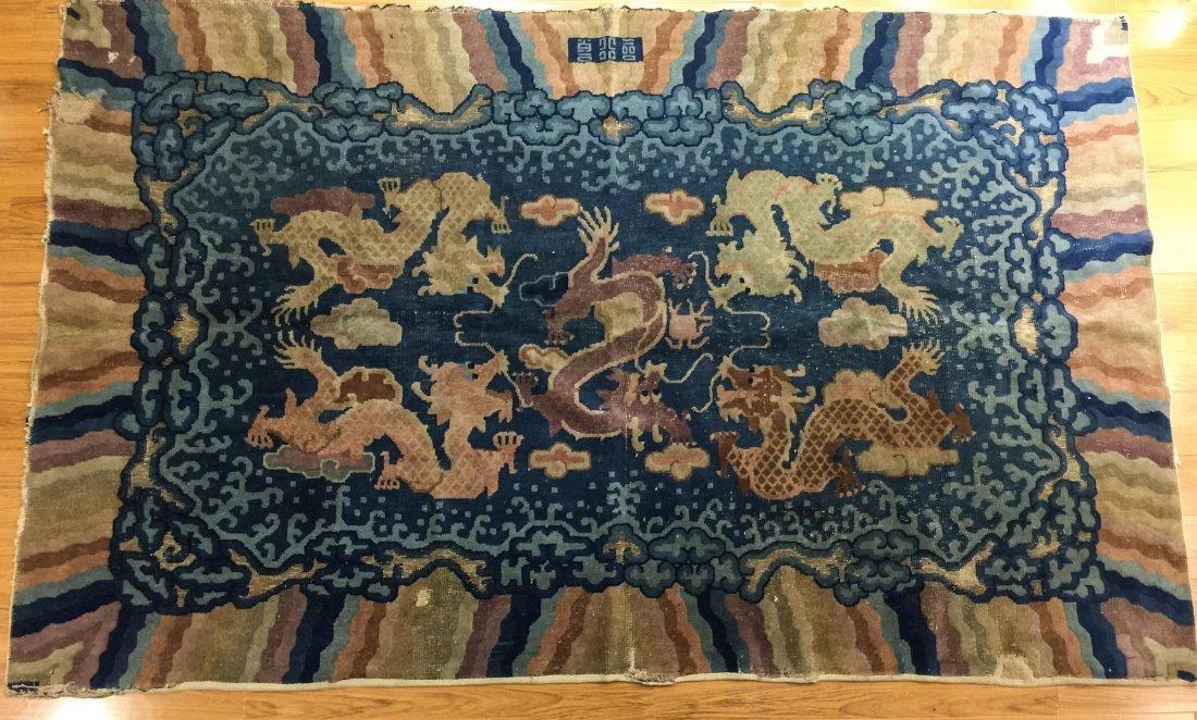 CHINESE CARPET WITH DRAGON MOTIF