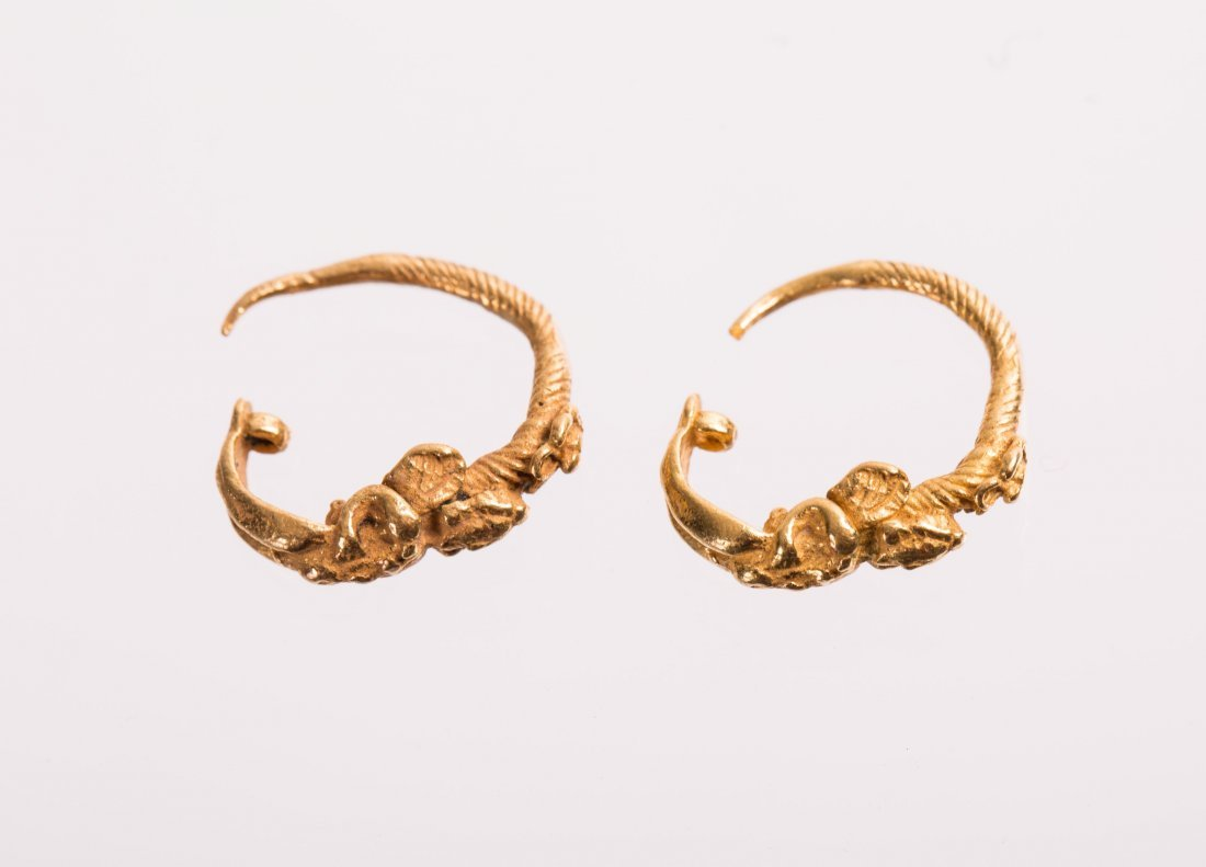 PAIR OF ANCIENT ROMAN GOLD EARRING WITH ANGEL  - 4