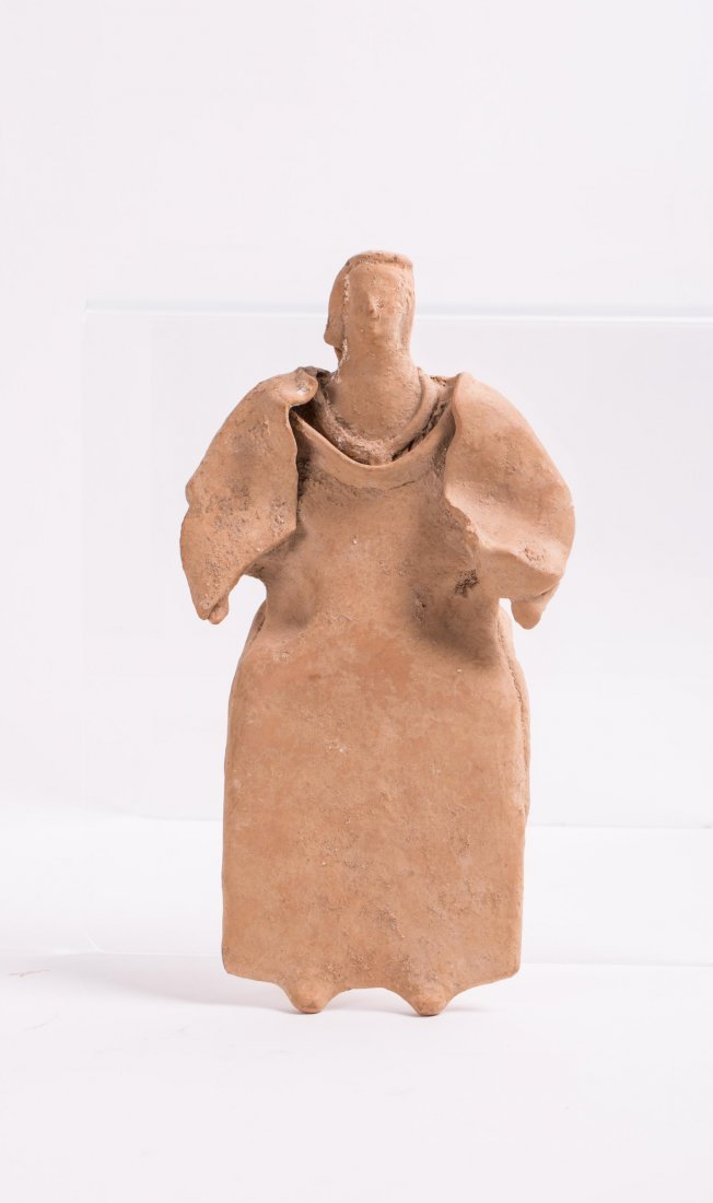 LARGE ANCIENT GREEK TERRACOTTA FEMALE STATUE