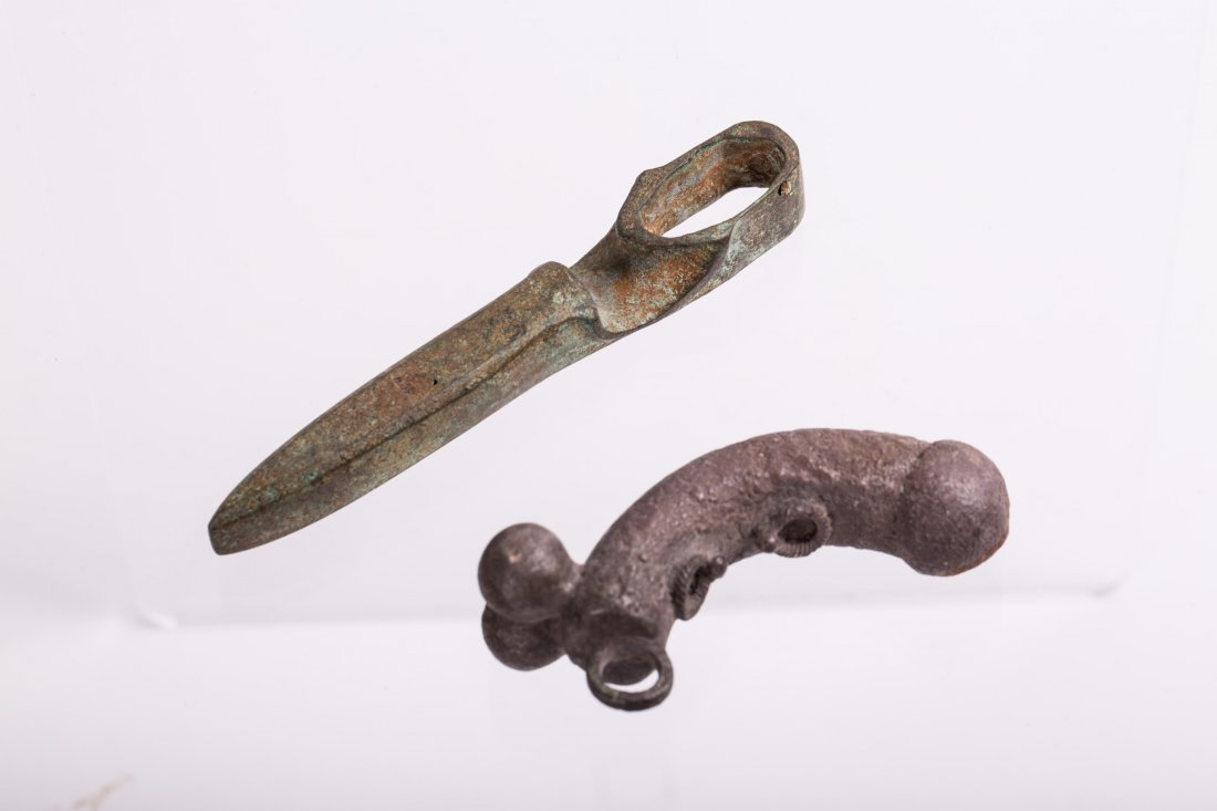 ANCIENT BRONZE AXE AND SILVER AMULET