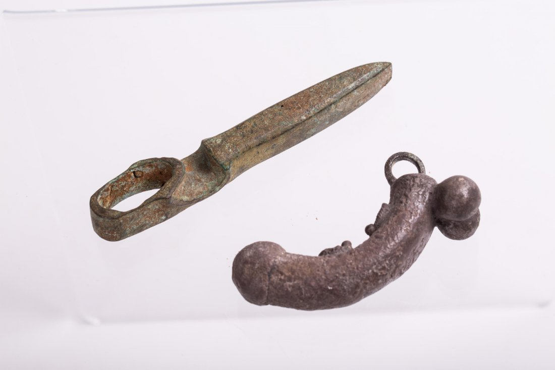 ANCIENT BRONZE AXE AND SILVER AMULET - 2