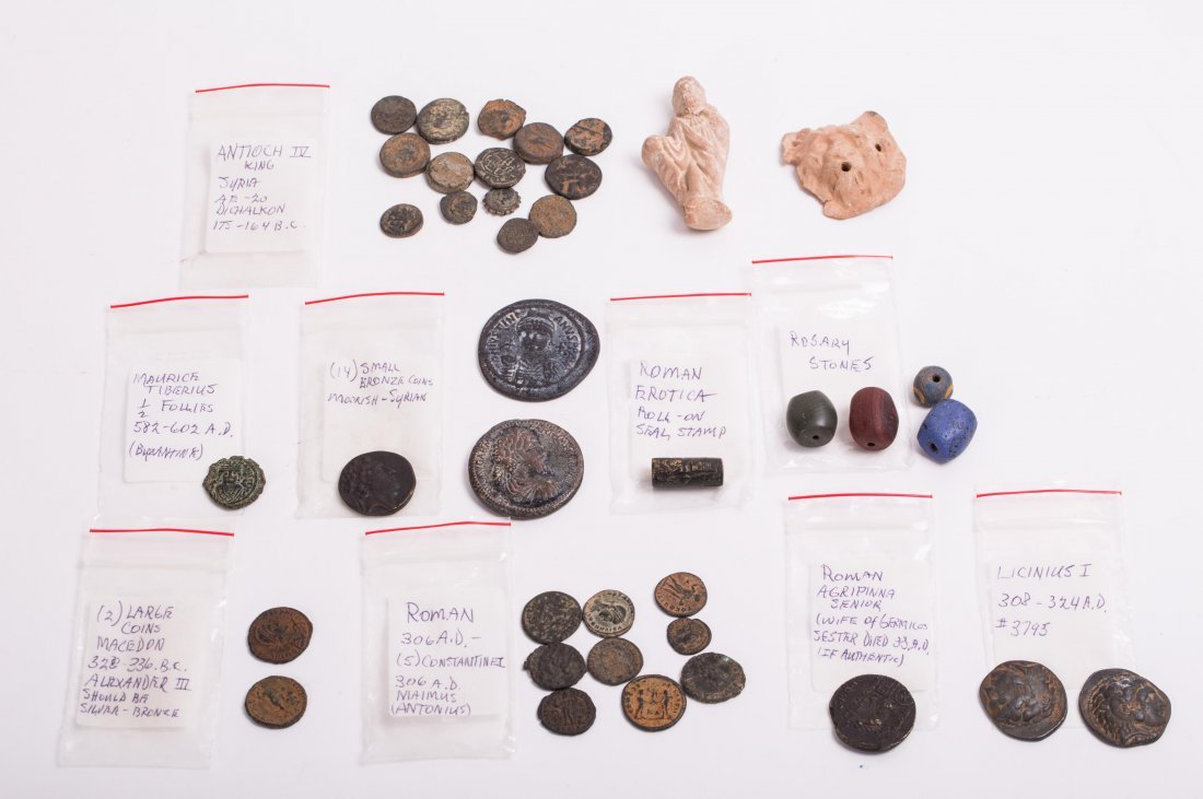 COLLECTION OF COINS, BEADS AND CLAY