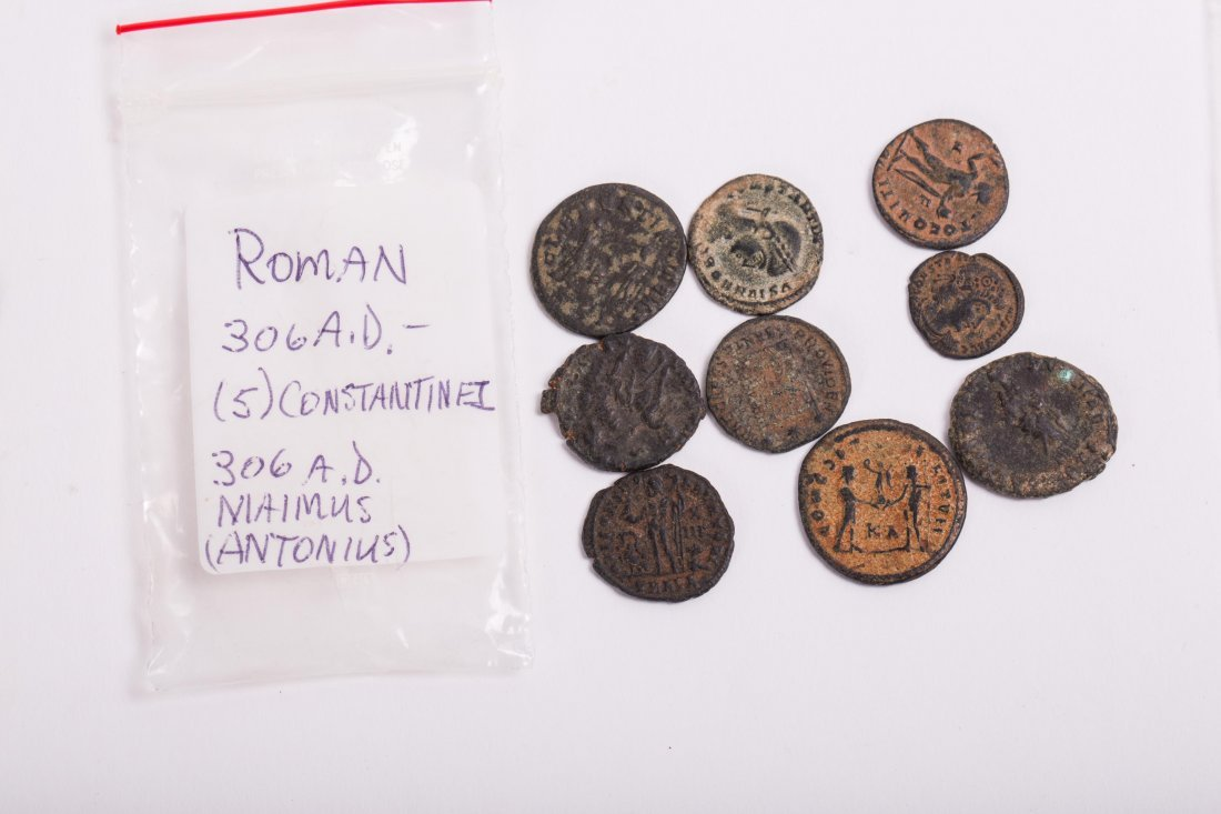 COLLECTION OF COINS, BEADS AND CLAY - 3