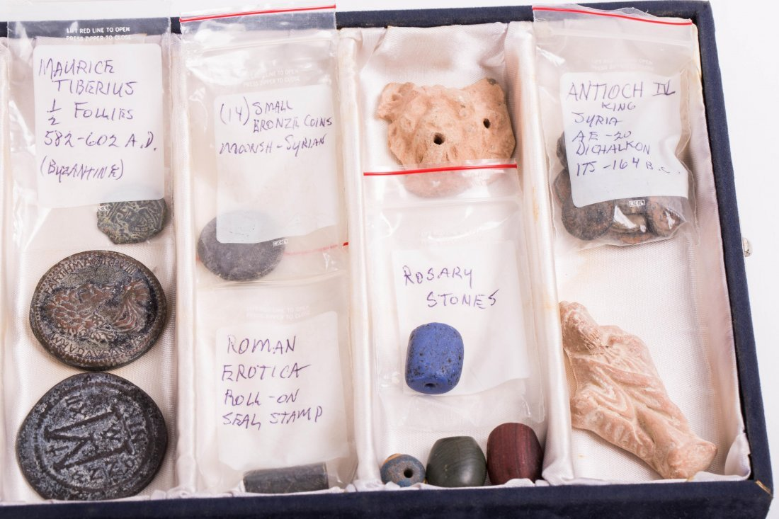COLLECTION OF COINS, BEADS AND CLAY - 7