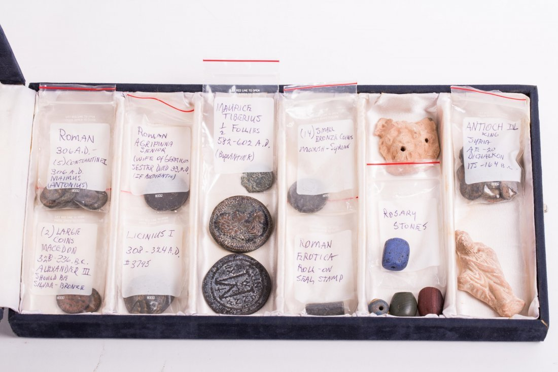 COLLECTION OF COINS, BEADS AND CLAY - 8