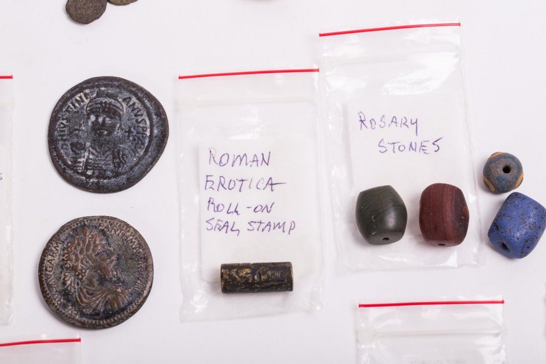 COLLECTION OF COINS, BEADS AND CLAY - 9