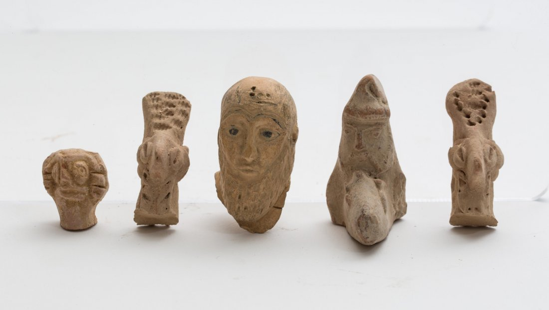 LOT OF 5 ANCIENT ASSYRIAN CLAY HEADS
