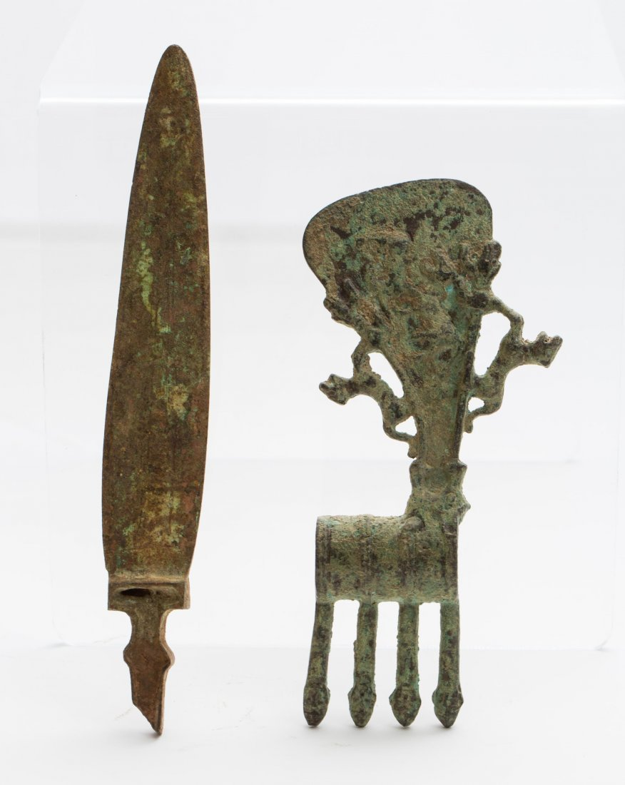 LURISTAN BRONZE AXE AND KNIFE