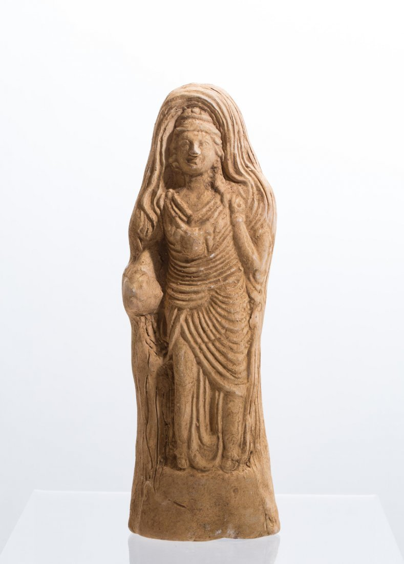 ANCIENT ROMAN CLAY FEMALE STATUE