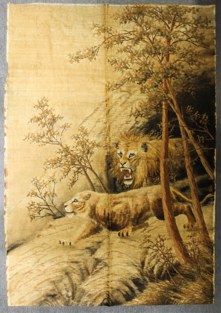 19TH CENTURY CHINESE EMBROIDERY, LION