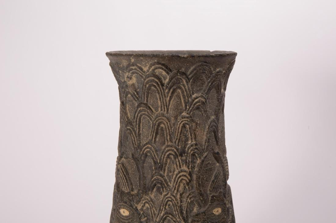 NEAR EASTERN STONE CARVED VASE WITH ANIMALS AND FI - 2